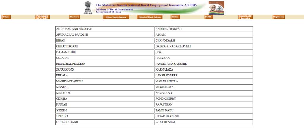 NREGA Job Card List Website
