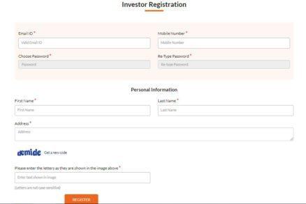 Investor registration